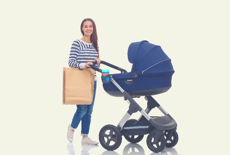 Young mum with modern pram on white background