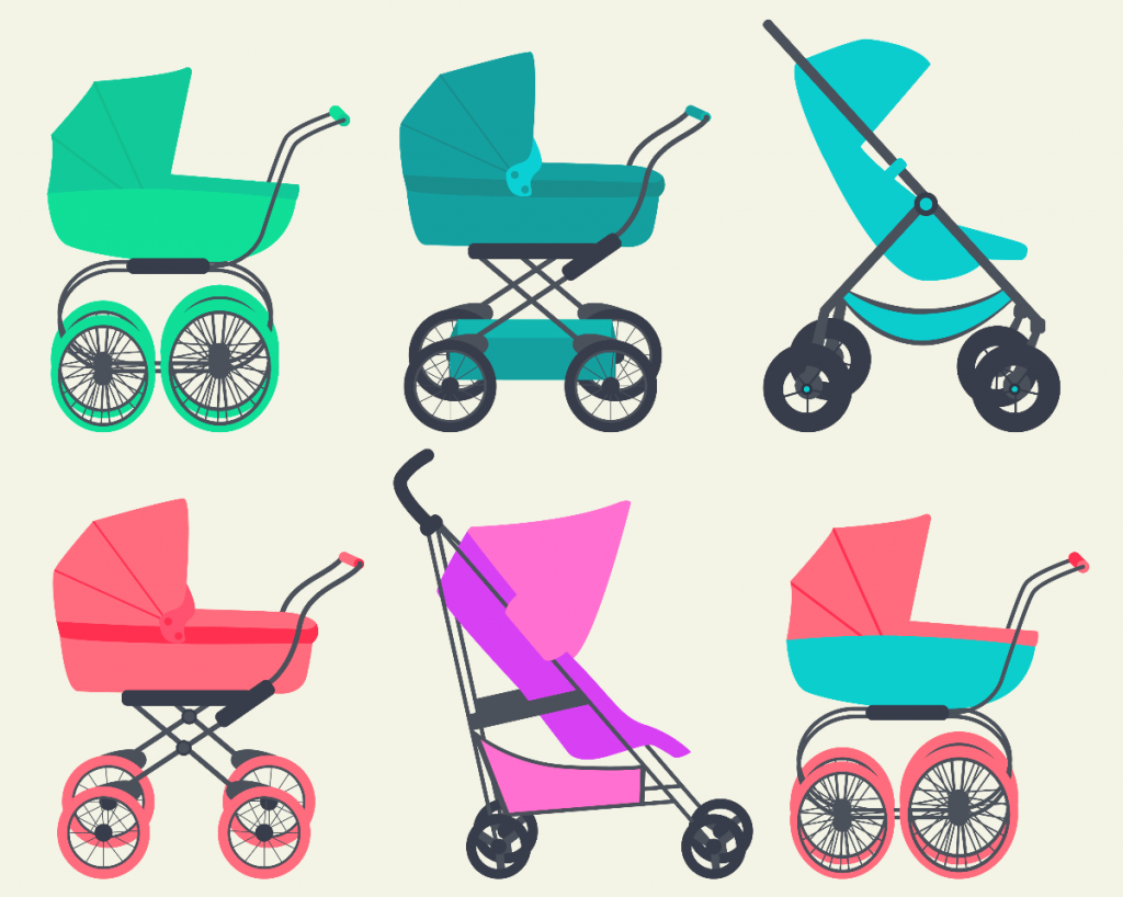 Illustrations of 6 types of baby prams and strollers