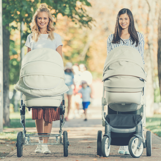 2 mothers with prams strolling in the park, smiling at the camera