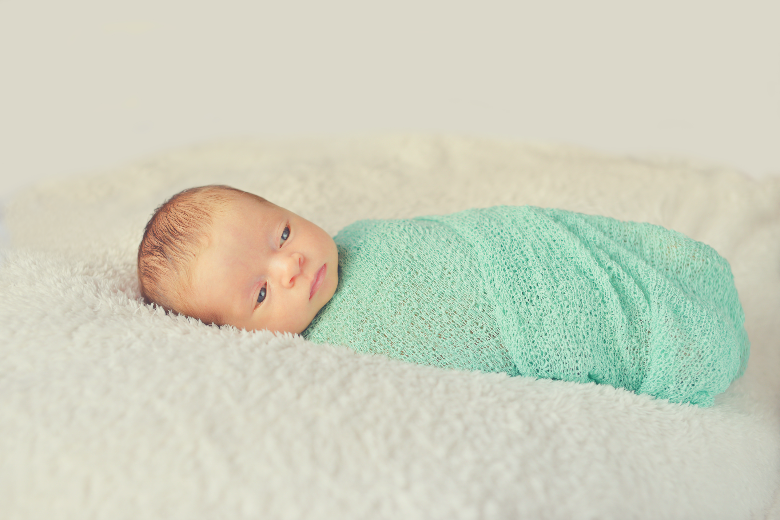 Baby swaddled ready for sleep